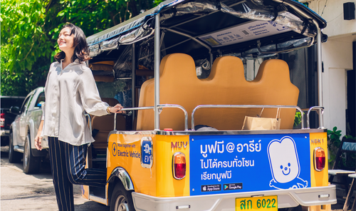 Woman steps out of MuvMi Tuktuk